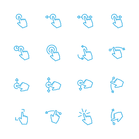 sensory: Touch Gesture Blue Line Icons and Sensory Blue Line Icons