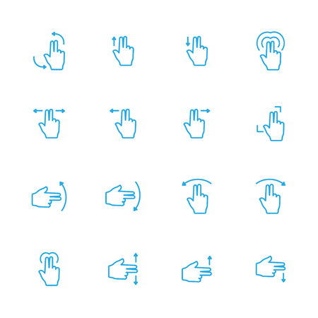 sensory: Touch Gesture Double Blue Line Icon and Sensory Blue Line Icons