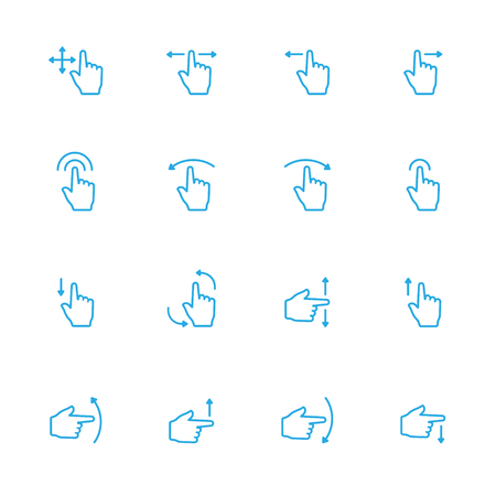 sensory: Touch Gesture Blue Line Icon and Sensory Blue Line Icons
