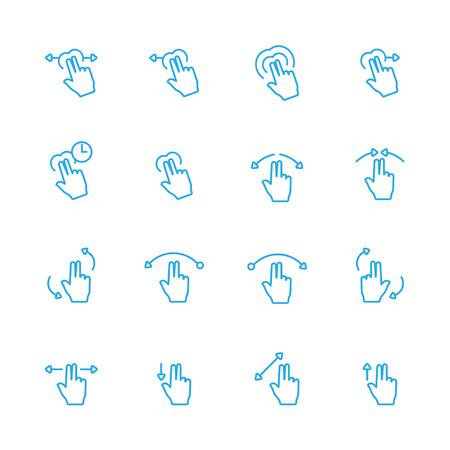 sensory: Touch Gesture Blue Line Icon and Sensory Blue Line Icons Set