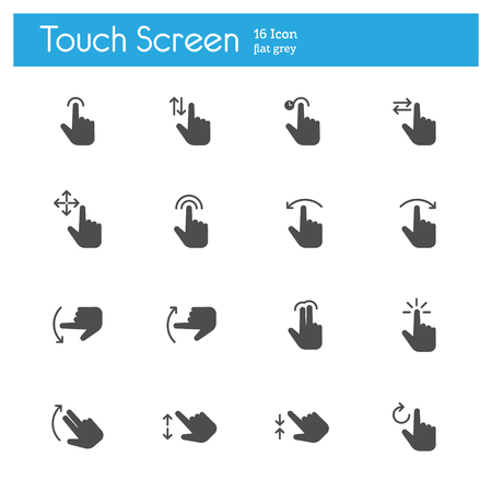 flat screen: Touch Screen, Touch Gesture Icons flat icon