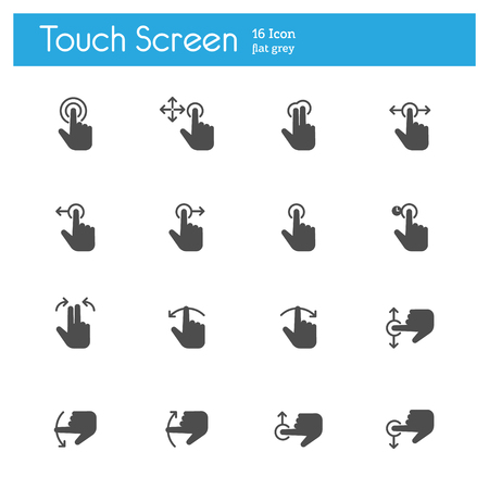 flat screen: Touch Screen Icons flat icon Illustration