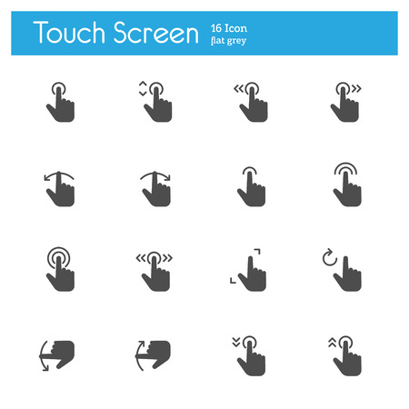 flick: Touch Gesture, Touch Screen Icons flat icon Illustration