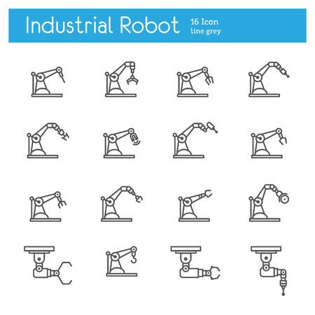 Industrial robot line icons set Illustration