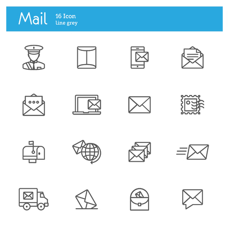 post office: Mail, Post and Post office icons line set Illustration