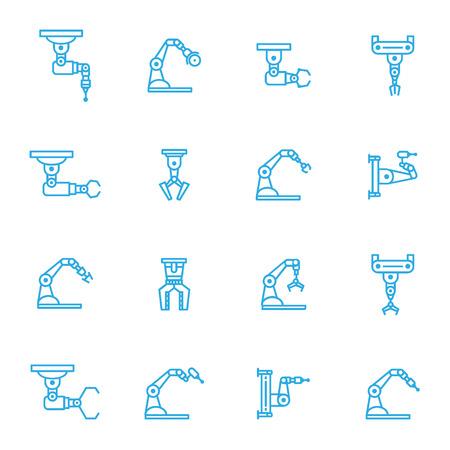 Industrial robot line icons set of 16 Illustration