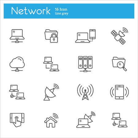 feeler: Set of flat icons icons on the data subject, the cloud computing system, Internet access, protection of technical tools password. Illustration