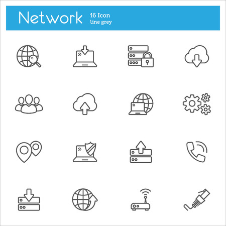 societal: Set of icons on the topic of data, cloud computing system, Internet access, password protection technology.