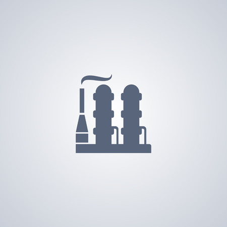 dangerous construction: Oil factory vector icon Illustration