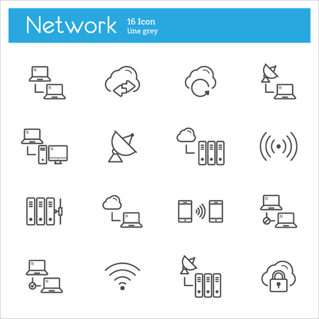 pent: Network vector line icons, connection vector line icons Illustration