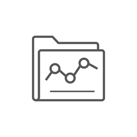 Illustration of an isolated line art folder icon with a graph