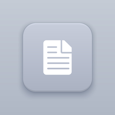 Document, file button, best vector on a gray background Ilustração