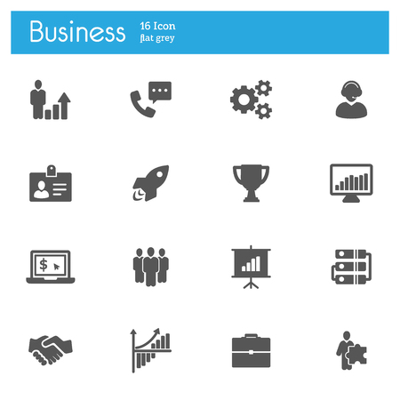 Business flat gray icons set of 16 on white background, EPS 10 Ilustração