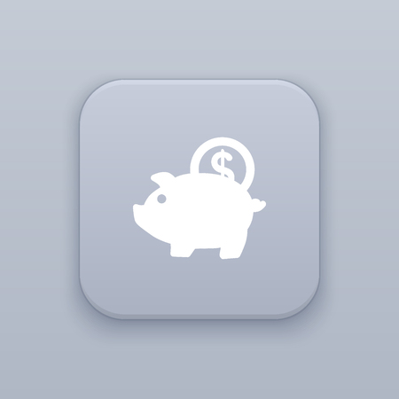 Piggy money bank button, best vector on a gray background Ilustração