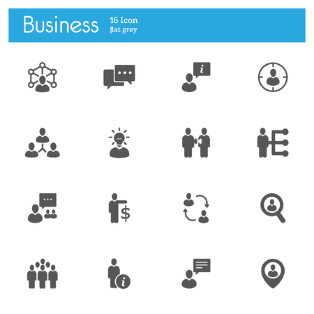 Business strategy flat gray icons set of 16 on white background Ilustração