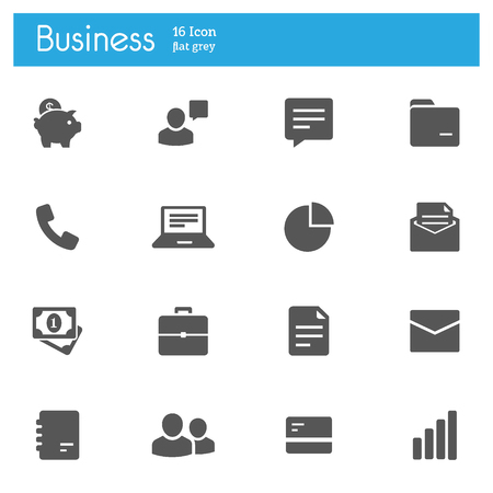 Business and finance flat gray icons set of 16 on white background Imagens - 124144781