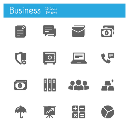 Business and banking flat gray icons set of 16 on white background