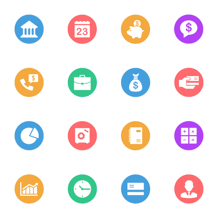 Business and banking vector flat icons on the color substrate set of 16 on white background