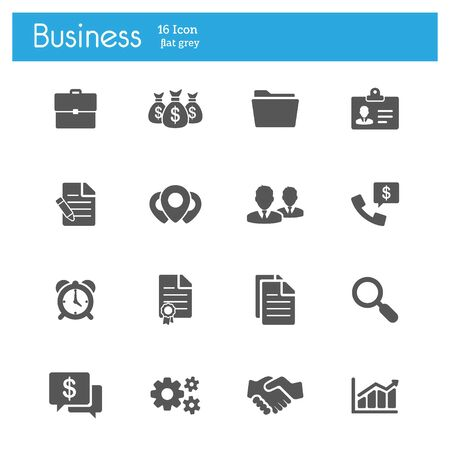 Business flat gray icons set of 16 on white background Ilustração