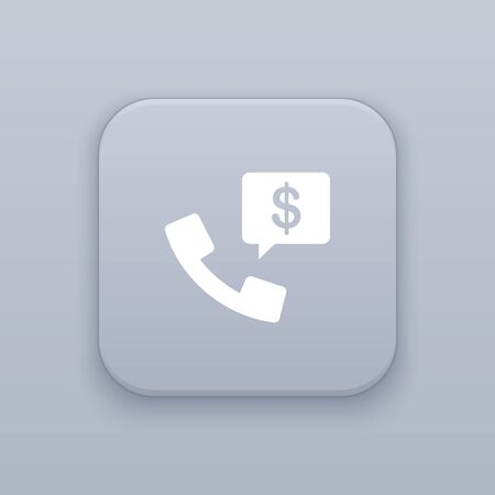 Business phone call button, best vector on a gray background