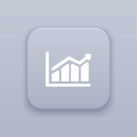 Statistics, chart button, best vector on a gray background Ilustração