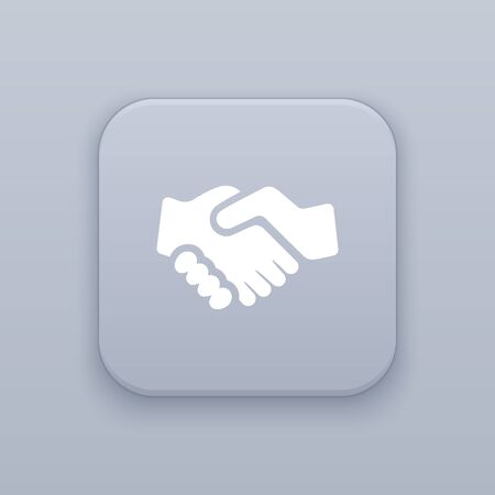 Handshake, partnership button, best vector on a gray background