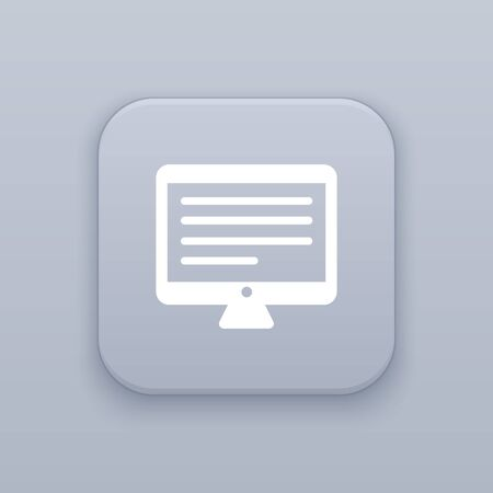 Monitor, gray vector button with white icon on gray background Ilustração