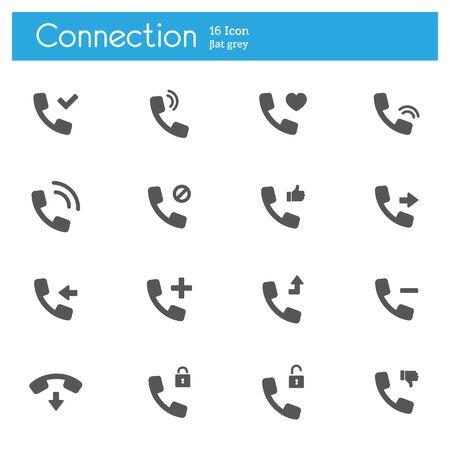 Connect and call icons vector flat set of 16