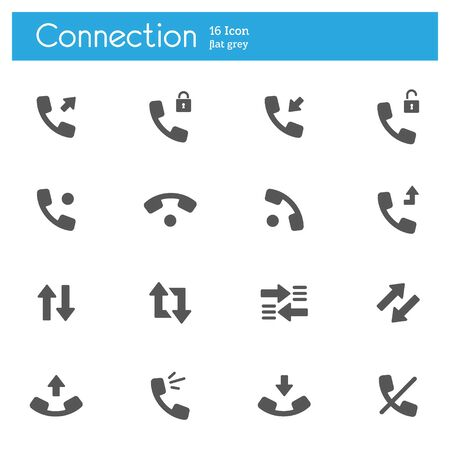 Connect and call vector flat icons set of 16