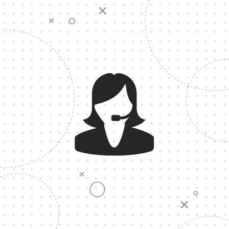 Girl operator, vector best flat icon on texture background, EPS 10