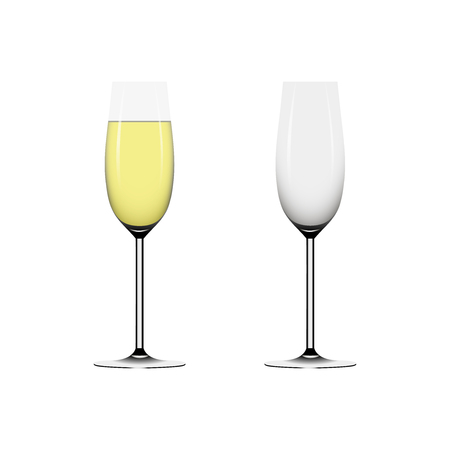 wineglass: Two wineglass full and empty