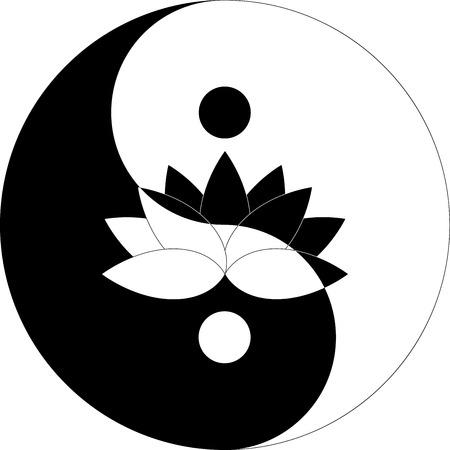 陰陽シンボル黒と白の蓮の花  イラスト・ベクター素材