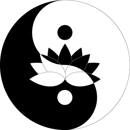 lotus flower in Yin Yang symbol black and white