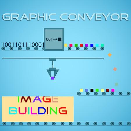 Graphic conveyor. Imaging pixel process Ilustracja