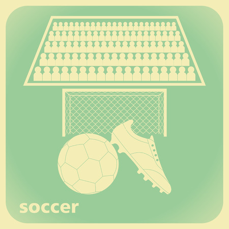 supporters: Soccer wallpaper with football boot, ball, goal and supporters in retro style