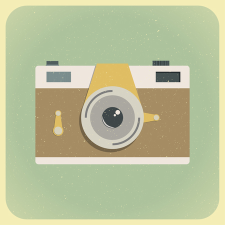 flat photo camera on a green background with scratches in retro style