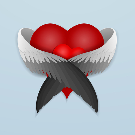 Red heart with wings lovingly hugging heart