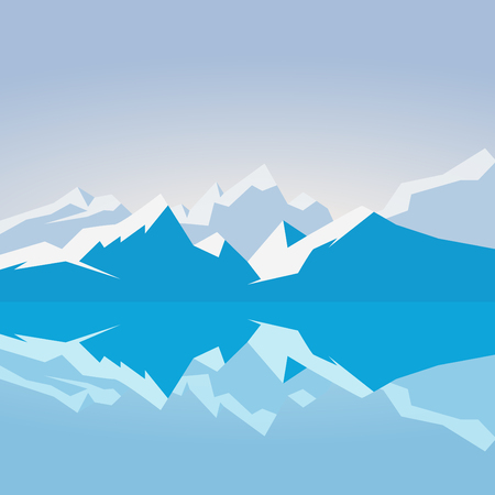 Dawn on snowy mountains. Mountains reflected in the water in the morning Illustration
