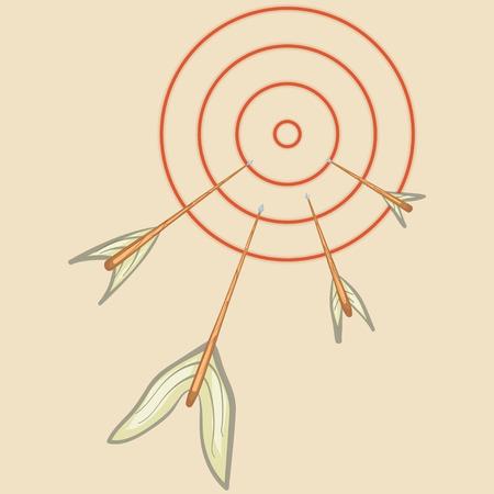 Arrows flying at the target. Hand drawn illustration Иллюстрация
