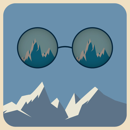 sunglasses with reflection of snowy mountains in retro style Illustration