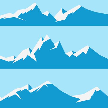 winter range: set snowy mountains Illustration