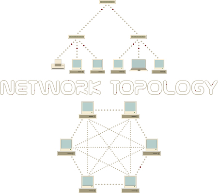 network topology: Computer network topology set. Fully connected, tree