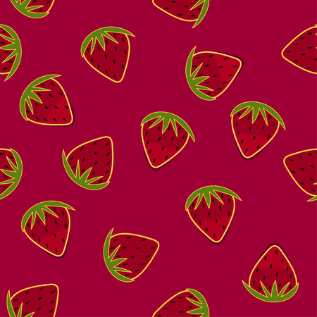 Strawberry hand drawn seamless wallpaper Illustration