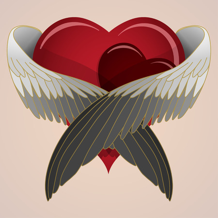 colored heart with wings