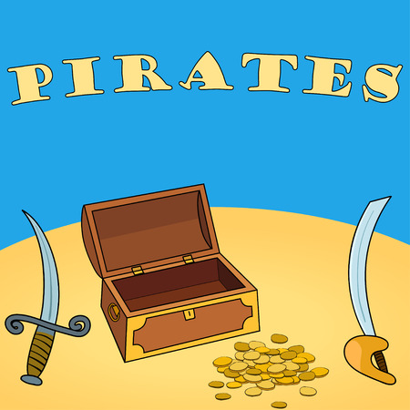 Pirates wallpaper with chest, dagger, sword, coin