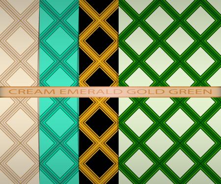set colored square pattern. cream, emerald, gold, green Vettoriali