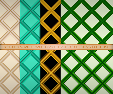 set colored square pattern. cream, emerald, gold, green Illustration