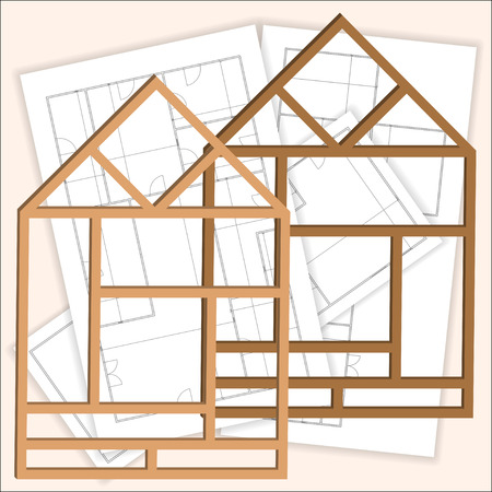 residential homes: Remodeling house. One frame of the house with the blueprints in the background