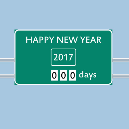 2017 happy new year road sign