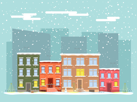 Vector flat city in winter. Street with apartment buildings in the snow